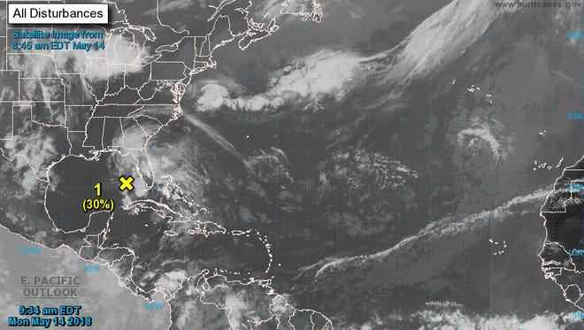 A satellite image from the National Hurricane Center on Monday, May 14, 2018.