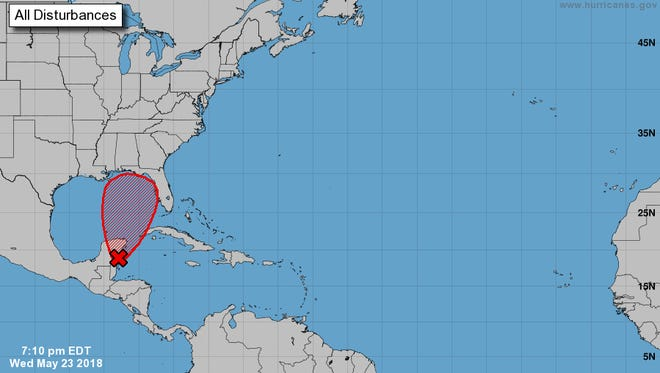 According to the National Hurricane Center's 7 p.m. update on Wednesday, May 23, 2018, there is a 70 percent chance that a tropical depression forms in the Gulf of Mexico within the next five days.