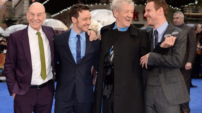 """LONDON, ENGLAND - MAY 12:  (L-R) Actors Patrick Stewart; James McAvoy; Sir Ian McKellen and Michael Fassbender attend the UK Premiere of """"X-Men: Days of Future Past"""" held at the Odeon Leicester Square on May 12, 2014 in London, England.  (Photo by Karwai Tang/WireImage) ORG XMIT: 488492957 ORIG FILE ID: 490058109"""