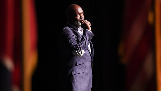 Emmitt Smith talked about his college years at Florida during his speech at Jackson State Community College's 2017 foundation banquet, Tuesday, April 11, at the Carl Perkins Civic Center.