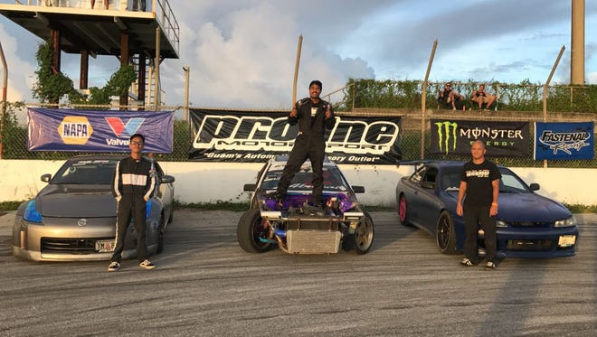 Proline Drifting Championships top three finishers, from left, Don Cabuhat (2nd place), Von Burrell (1st place), and Matt Pilarca (3rd place).
