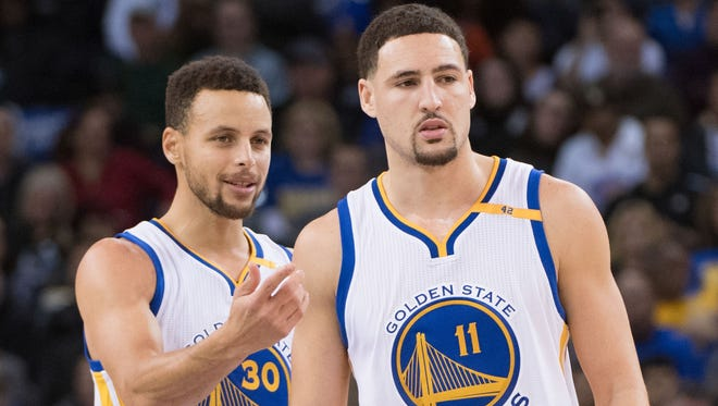 Steph Curry and Klay Thompson will rest Saturday as the Warriors near the end of a stretch of eight games in 13 days.
