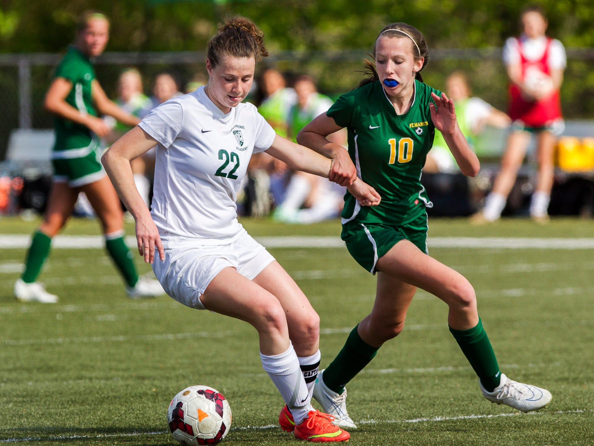 Archmere's Alana Bradley (No. 22) and St. Mark's Hannah Schepers (No. 10) fight for position on the ball during a game at Archmere on Wednesday afternoon. Archmere defeated St. Mark's by a score of 2-1.