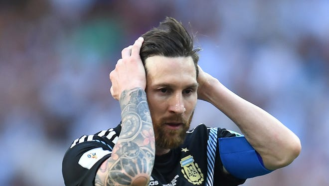 Argentina forward Lionel Messi (10) reacts in Group D play against Iceland during the FIFA World Cup 2018 at Spartak Stadium.