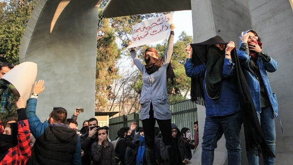 An ant-government protest in Tehran, Iran, on Dec.