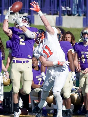 Albion College's Connor Carbary (2) makes an catch against Hope College on Saturday at Sprankle-Sprandel Stadium in Albion.