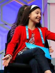 Melodie Loya, of Bainbridge,  takes part in the finals of the 2017 Scripps National Spelling Bee.