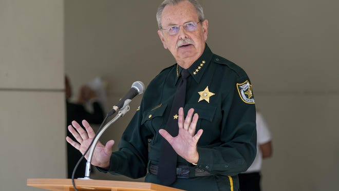 Palm Beach County Sheriff Ric Bradshaw speaks April 27 during a news conference at the Palm Beach County Operations Center in West Palm Beach.