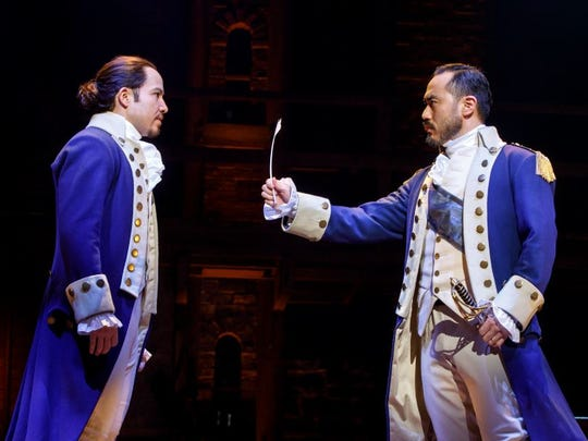 "Joseph Morales (left) and Marcus Choi play Alexander Hamilton and George Washington in the national tour of ""Hamilton: An American Musical."" The show debuts June 27 in Des Moines at the Civic Center."