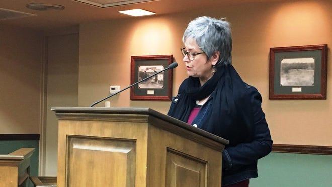 Ellen Merschon addresses Loveland City Council. Merschon announced the formation of Loveland Community Heartbeat, a new political action committee.