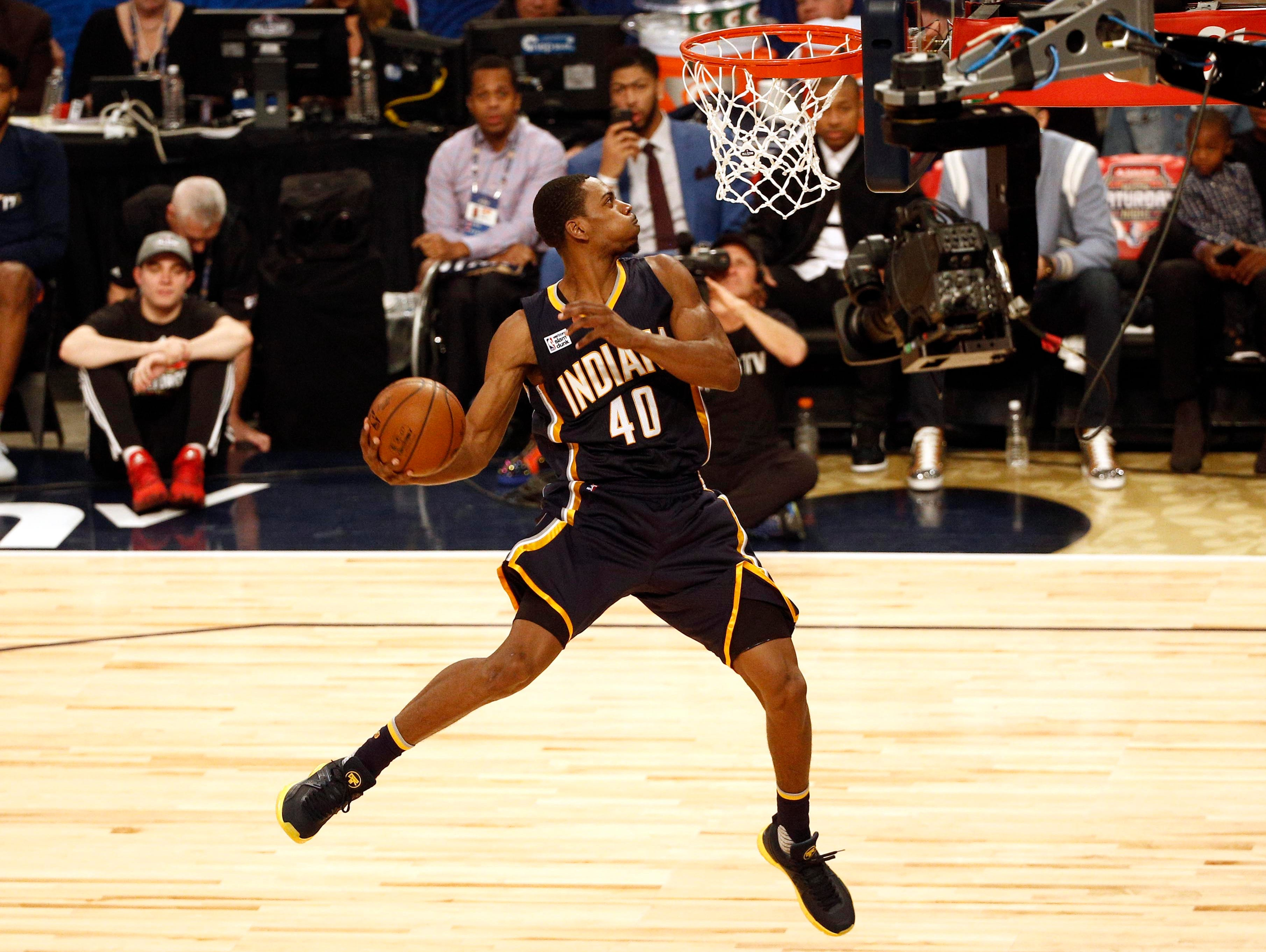Feb 18, 2017; New Orleans, LA, USA; Indiana Pacers forward Glenn Robinson III (40) competes in the slam dunk contest during NBA All-Star Saturday Night at Smoothie King Center.