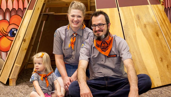 Camp Dreamtree creators Koryn Woodward Wasson and Roy Wasson Valle and their daughter, Cora, who turns 2 in July.