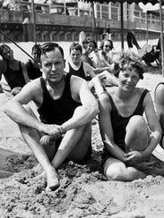 George Putnam and Amelia Earhart on the beach in Rye