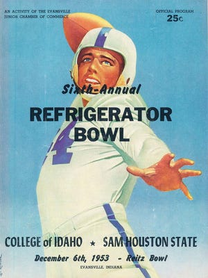 Offical program from the Sixth-Annual Refrigerator Bowl, against College of Idaho and Sam Houston State on December 6th, 1953.