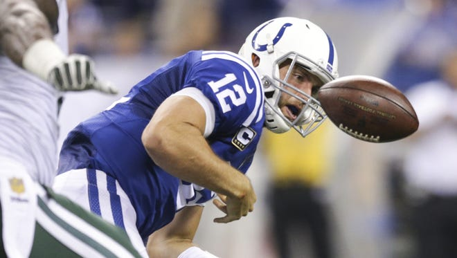Andrew Luck committed four turnovers in the Colts' loss to the Jets on Monday night.