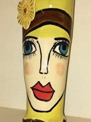 Ceramic Vase Bella Blue Eyes by Jan Strickland