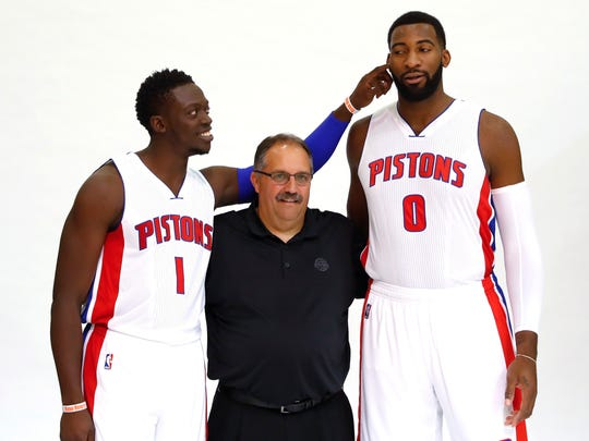 Detroit Pistons' Reggie Jackson (1) teases Andre Drummond (0) while posing with coach Stan Van Gundy during the NBA basketball team's media day in Auburn Hills, Mich., Monday, Sept. 26, 2016.