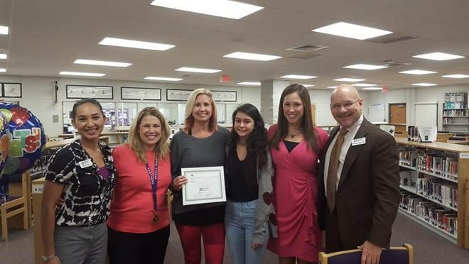 The Foundation for Lee County Public Schools is pleased to announce the 2015-16 Take Stock in Children Mentor of the Year is Jill Passarella. Pictured: Sheryl Verhulst, Angela Roles, Jill Passarella, Erica Hoffman, Alicia Miller and Marshall T. Bower