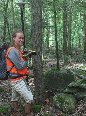 Appalachian alumna Cala Castleberry '17 stops for a photo while serving as an archaeological technician and Burned Area Emergency Response (BAER) intern in the Great Smoky Mountains National Park. Castleberry helped with wildfire mitigation efforts in burned areas of the park.