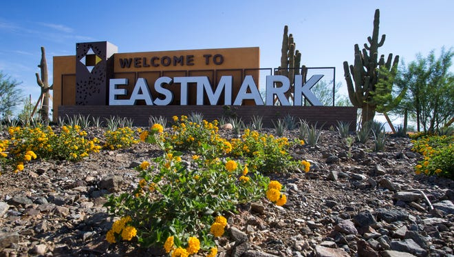 The welcome sign for DMB's Eastmark community in east Mesa is at the main entrance at Ray and Ellsworth roads.