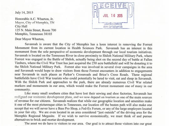 The letter Savannah Mayor Bob Shutt sent to Memphis Mayor A C Wharton requesting the Nathan Bedord Forrest statue that is currently in Memphis.