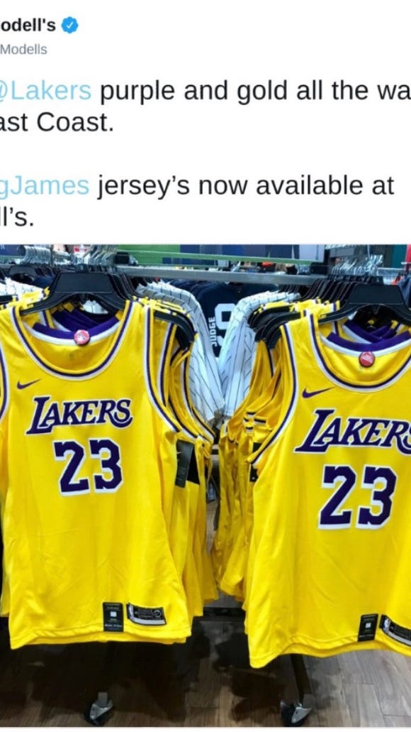 huge discount fe0f0 e6871 Store appeared to leak the Lakers' new uniforms