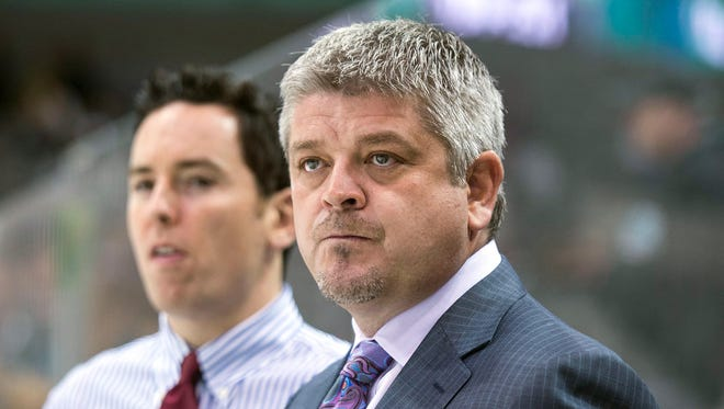 San Jose Sharks head coach Todd McLellan tied Darryl Sutter for most games coached in franchise history with 434.