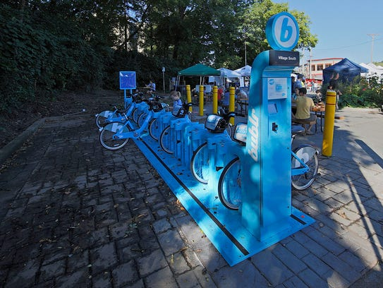 A Bublr Bikes rack is seen at the Wauwatosa Farmers