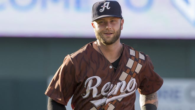 """First baseman Christian Walker in his Star Wars night uniform during the Reno Aces """"Star Wars Night"""" game at Greater Nevada Field in Reno on  June 17, 2017."""