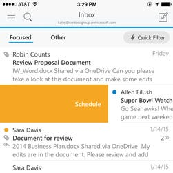 Microsoft's new Outlook for iOS app lets you schedule a mail message to deal with later.