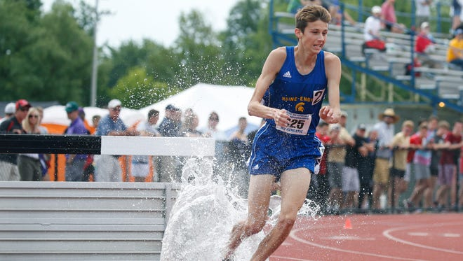 Parker Stokes of Main-Endwell in the Boys 3,000 meter steeplechase during the NYSPHSAA Outdoor Track & Field Championships at Cicero-North Syracuse High School.