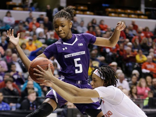 Jordan Hankins, No. 5, plays for Northwestern University in a March 5, 2016 Big Ten Conference tournament game in Indianapolis.