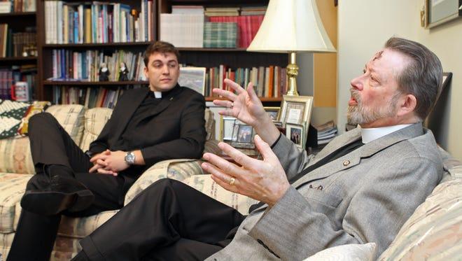 The Rev. Daniel Ulrich, left, associate pastor of Grace Lutheran and Rev. Larry Peters, Senior Pastor of Grace Lutheran, discuss the Lenten season at Grace Lutheran.