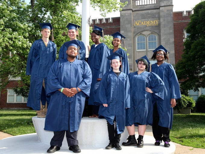FRONT ROW LEFT TO RIGHT: David McConico, Nala Winemiller, Callie Comer and Asia Frey.  BACK ROW LEFT TO RIGHT: Cody Harral, Devante Urbina, Jodeci Thomas and Precious Barnett. When these Shawnee students walk across the stage they will have turned naysayers into believers. Many thought the group of eight students, considered at-risk because they fought through personal battles such as homelessness, incarceration and death of loved ones due to drug addictions, would never graduate. Not only did they finish  high school Ð but they are also published writers. Over the past year, they wrote about their lives and their neighborhoods in a landmark book entitled �Our Shawnee� that was just released in bookstores. In the book, they delved into their past, sometimes writing about painful topics. At times, they struggled through writer's block and self-doubt and they encountered a number of outside challenges and potential distractions. But they persevered. June 2, 2014