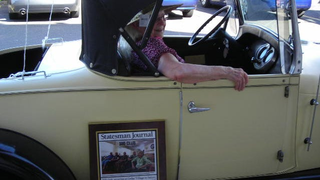 Fern Gleason celebrates turning 100 by taking a ride Sept. 13, 2015, in a 1929 Ford Model A. Her actual birthday is Sept. 15.
