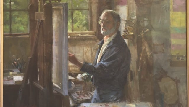 """Self-Portrait, 2010,"" oil on canvas by James J. Ingwersen, part of ""Captured Moments: Select Portraits by James J. Ingwersen,"" on exhibit through Sept. 11 at the Miller Art Museum."