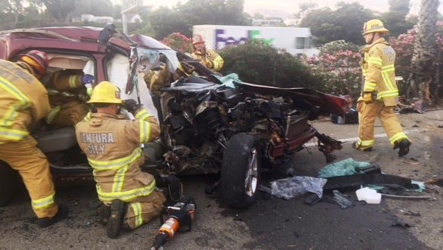 A single-vehicle crash into a tree along Harbor Boulevard in Ventura sent two people to the hospital on Wednesday night.