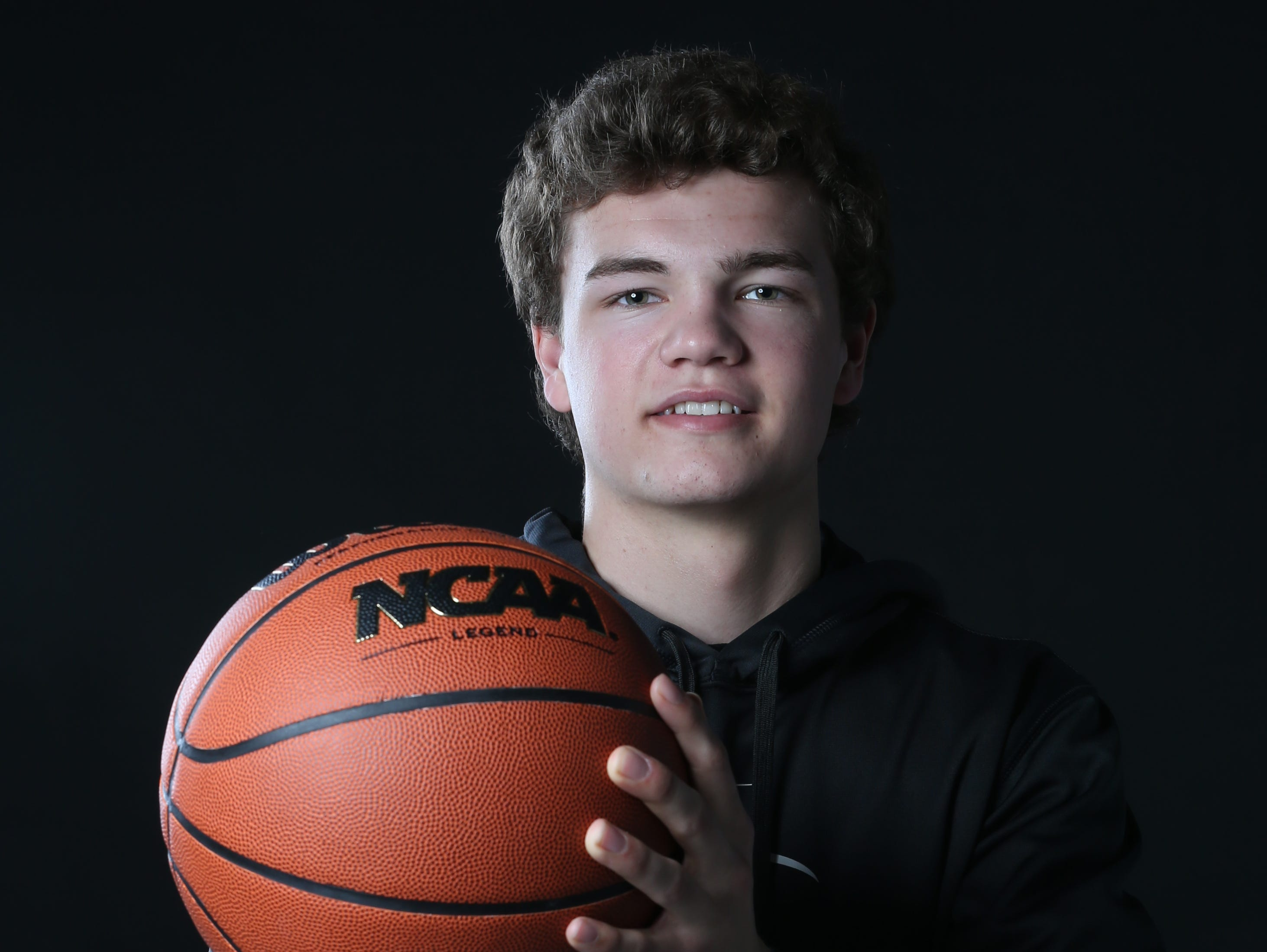Kyle Lang, Mason City, a Des Moines Register's All-CIML Elite boysÕ basketball selection, photographed in the studio on Sunday, Feb. 26, 2017, in Des Moines.