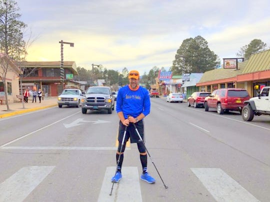 Bill Bucklew makes his way through Ruidoso Tuesday.