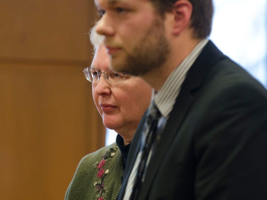Shirley Thoen listens to Judge John Monaghan Thursday,