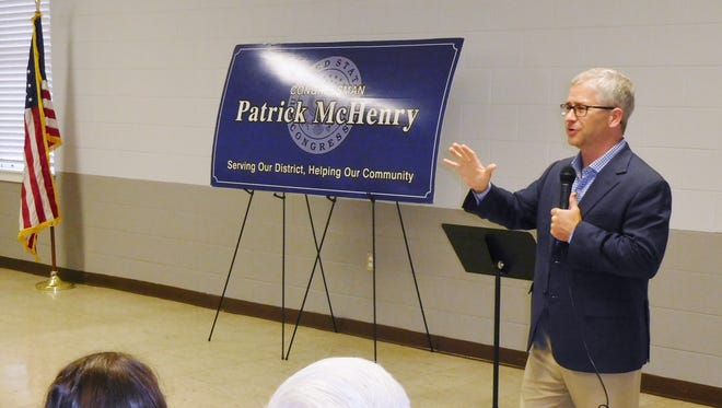 Tenth District U.S. Rep. Patrick McHenry speaks at a town hall meeting Tuesday at Riceville Volunteer Fire Department