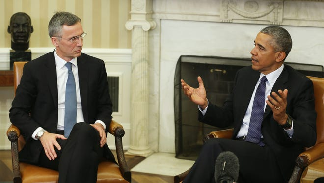 President Obama meets with NATO Secretary General Jens Stoltenberg in the Oval Office Monday.