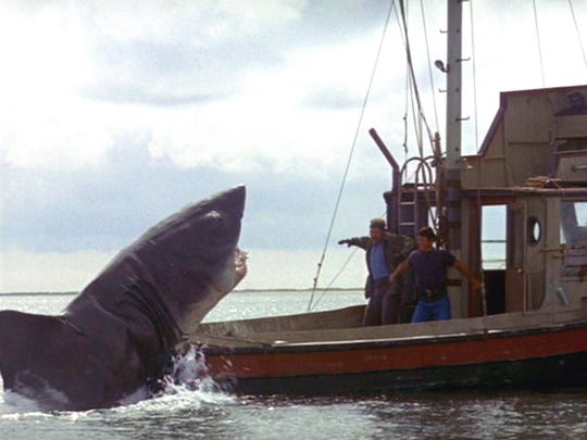 """""""Jaws,"""" (1975) directed by Steven Spielberg. Shown:"""