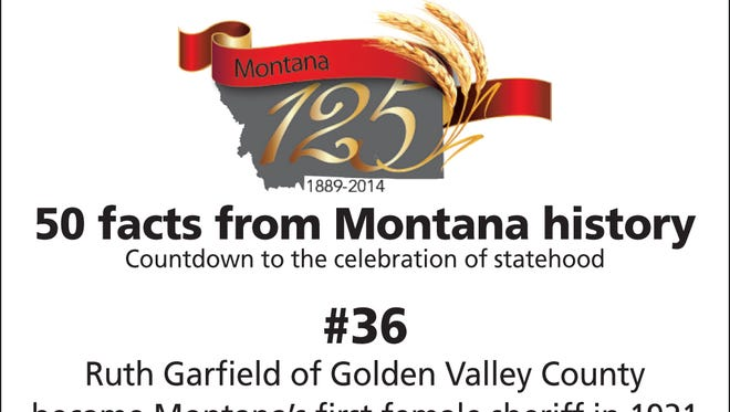 Ruth Garfield of Golden Valley County became Montana's first female sheriff in 1921 after her sheriff husband was killed.