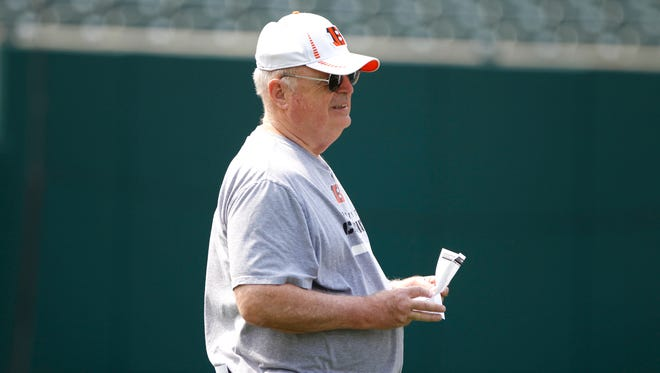 Bengals owner Mike Brown watches his team on the first day of organized team activities (OTAs) at Paul Brown Stadium.