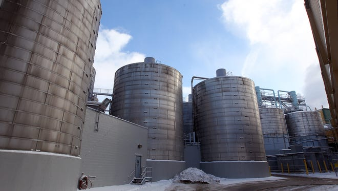Large storage tanks hold 8,000 barrels of beer at North American Breweries.
