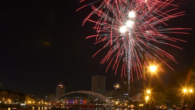 July 4th fireworks over downtown Rochester.