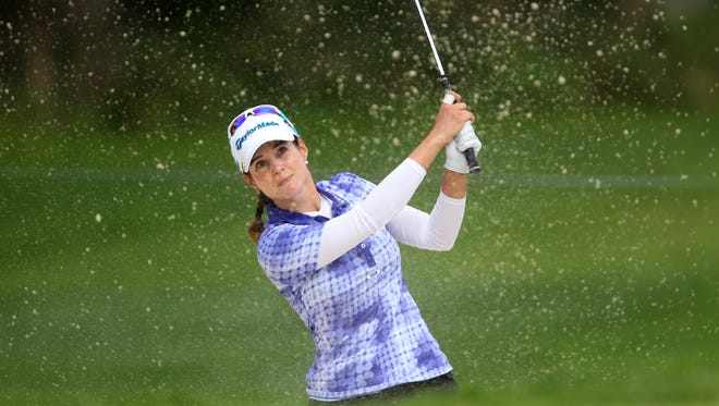 Beatriz Recari out of the bunker on 2 where she then boggied during the second round of the Wegmans LPGA  Championship, August 15, 2014 at Monroe Golf Club.