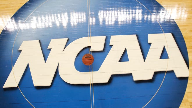 NCAA logo shot during the second round of the 2012 NCAA men's basketball tournament at Greensboro Coliseum.
