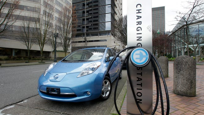 An electric car charging station is shown in downtown Portland, Ore., in 2011.